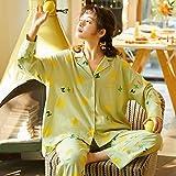 GenericBrands Otoño e Invierno Ropa para el hogar Pijamas PJ Set Otoño Algodón Dibujos Animados Manga Larga Suelta Top & Bottoms Ropa de Dormir Loungewear-XL_60-70Kg