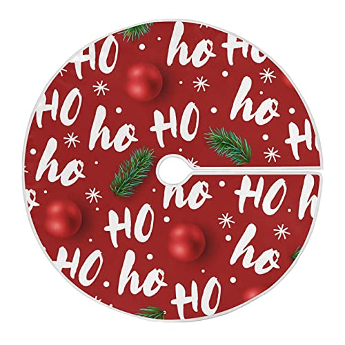 913 Funda De Base De Árbol Navidad Papá Noel Risa Hohoho Faldas Árbol Rústica Tree Skirt Estilo Retro Cubierta De Base De Árbol para Boda 76cm