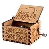 Caja de música temática de madera manivela belleza y la bestia, mecanismo de 18 notas Ca...