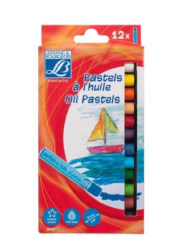 Lefranc & Bourgeois  Schulfarben - Set mit 12 Ölpastelle - ∅ 8 mm, feine Ölkreide, Softpastellkreide für die Kunsterziehung