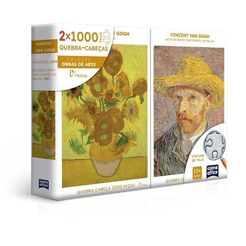 Vincent Van Gogh - Retrato e Girassóis - Quebra-cabeça - Combo 1000 peças, Toyster