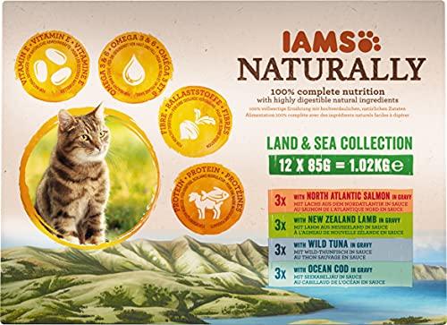 IAMS Naturally Land & Sea Collection in Sauce – Vollwertiges Nassfutter für erwachsene Katzen von 1-6 Jahren, Mix mit verschiedenen Geschmackssorten, 12 x 85 g