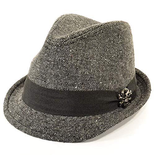 Hawkins Chapeau mou Gris avec large ruban noir en gros grain orné de tête de mort - gris - 57 cm
