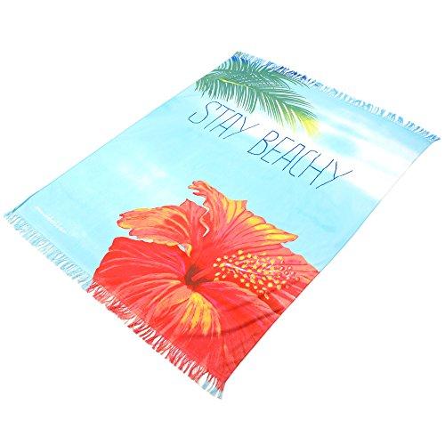 """Sanddollar Strandtuch XXL """"Stay Beachy"""" mit Fransen, 173 x 137 cm, Badetuch Strandlaken Wickeltuch, 100% Baumwolle (Blauer Verlauf - Palme - Hibiskus)"""