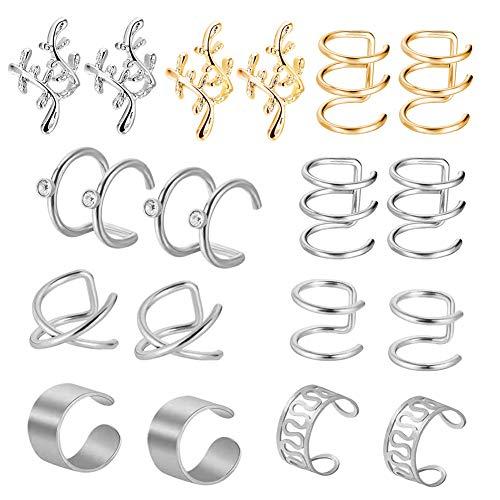 Seis pares de pendientes-sin pinzas para orejas perforadas-pinzas para orejas sin perforaciones-unisex-adecuadas para hombres-adecuadas para mujeres-tachuelas simples y de moda-varios estilos