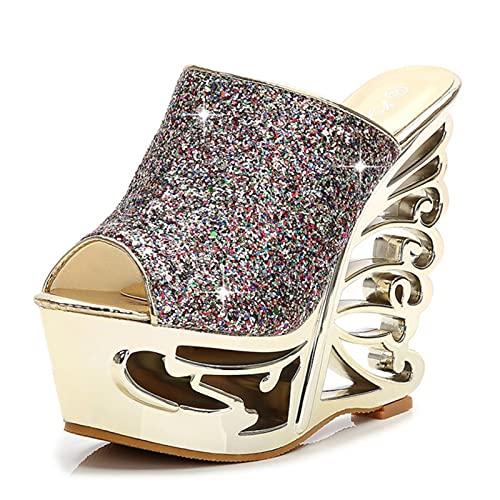 DZQQ Zapatos de Boda con Forma de Personalidad de Plata Dorada y...