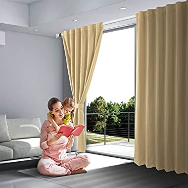SHIELD CREATOR Blackout Curtains, Back Tab and Rod Pocket Solid Blackout Curtains, Thermal Insulated Window Drapes for Living Room, 2 Panels(W52 X L95, Beige)
