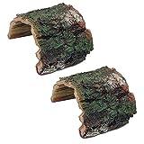 Zunbo - Juego de 2 adornos de tronco de árbol hueco, resina, acuario, accesorios Reptiles, copa de acuario para tortuga, peces anfibios