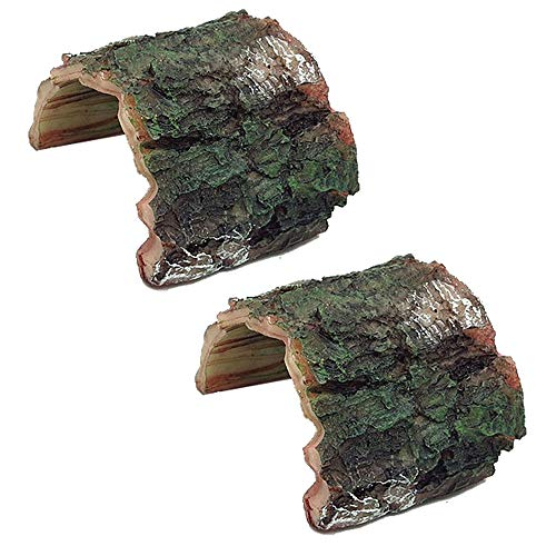 NEWCOMDIGI Log Resin Hollow Tree Trunk Ornament, Aquarium Hideout Reptile Cave, Sinkable Ornament Terrarium Fish Tank Accessories for Aquarium Decoration Fish Tank Wood ,2 Pack