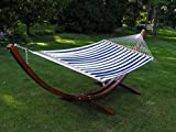 Deluxe Wood Arc Hammock Stand Including + Two Person Blue and White Quilted...