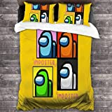 QWAS Ropa de cama de dibujos animados de Under Uns3D, para niños y adolescentes, 3 piezas, impresión digital 3D (A1, 135 x 200 cm + 80 x 80 cm x 2)