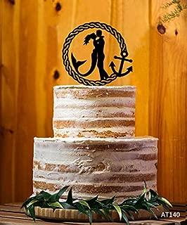 Acrylic Cake Topper Bride And Groom Cake Topper Mermaid Wedding Cake Topper Marine Anchor Cake Decoration Engagement Cake Anniversary Cake