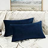 JUSPURBET Decorative Lumbar Velvet Throw Pillow Covers for Sofa Couch Bed,Pack of 2 Luxury Soft Cushion Cases,16x24 Inches,Navy Blue