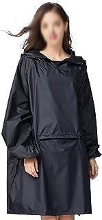 WZHZJ Women's Stylish Waterproof Rain Poncho Cloak Black Raincoat with Hood Sleeves and Big Pocket on Front