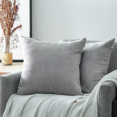 Topfinel Kissenbezüge Einfarbig Chenille Dekokissenhülle mit Verstecktem Reißverschluss für Sofa Auto Bett 2er Set 60x60 cm Fehgrau