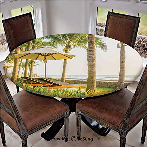 """Elastic Edged Polyester Fitted Table Cover,Palm Trees Umbrella and Chairs Around Swimming Pool in Hotel Resort Image,Fits up 45""""-56"""" Diameter Tables,The Ultimate Protection for Your Table,Yellow Green"""