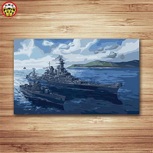 zxddzl Digitale malerei DIY handgemalte kampfflugzeug schlachtpanzer Landschaft dekorative malerei battleship-4001 40 * 666 cm