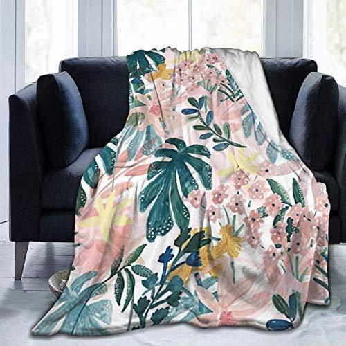 Manta de vellón Throw Palm Hojas y Flores Manta de Tiro Suave y difusa Adultos Niños Manta de Microfibra de Felpa para Habitaciones con Aire Acondicionado