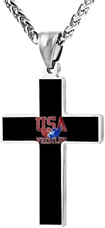 2018 USA Wrestling Logo Metal Religious Zinc Alloy Stainless Silver Steel Cross Necklace Holder Pearl Chain Urn Pendants