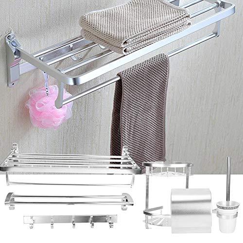 Nannday Bad Handtuchhalter, Space Aluminium Wandmontage Bad Lagerregal Handtuchhalter Tissue Box Set Zubehör