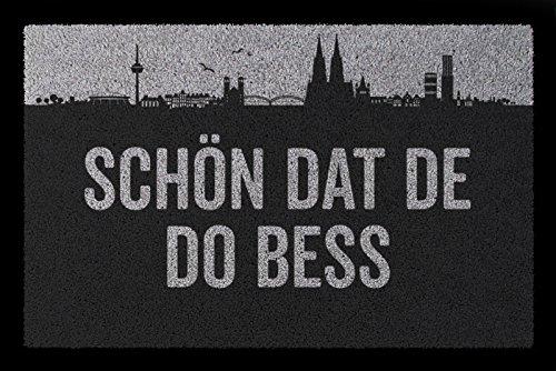 Interluxe FUSSMATTE Geschenk SCHÖN DAT DE DO BESS Köln Geschenk Einzug Hellgrau