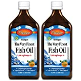 Carlson - The Very Finest Fish Oil, 1600 mg Omega-3s, Liquid Fish Oil Supplement, Norwegian Fish Oil, Wild-Caught, Sustainably Sourced Fish Oil Liquid, Orange, 500 mL (2 Pack)