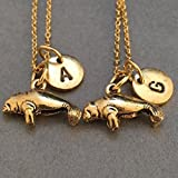 Meilleur collier ami, collier lamantin, collier animal, collier bff, soeur, bijoux d'amitié, personnalisé, initiale, monogramme