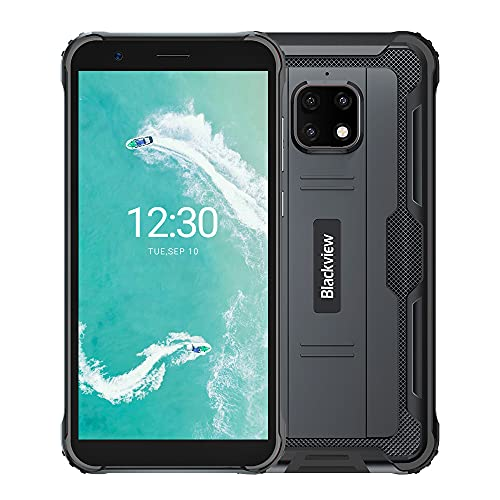 Blackview BV4900 Pro Outdoor Smartphone ohne Vertrag 64GB (Android 10, 13MP+5MP Kamera, 5.580mAh, 5.7 Zoll HD+ Bildschirm, Dual SIM, NFC, OTG) IP68 Wasserdicht Handy Schwarz