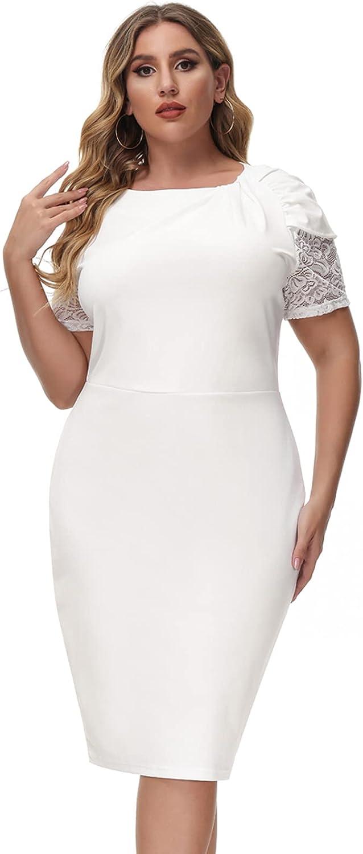 Hanna Nikole Women's Cocktail Dresses Plus Size Elegant Wedding Guest Party Work Bodycon Midi Dress