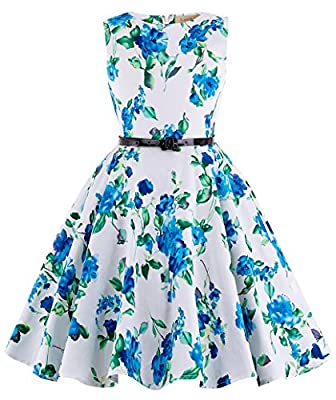 Kate Kasin Retro Swing Cotton Wedding Dresses for Kids 6-7Yrs White G Blue Flower