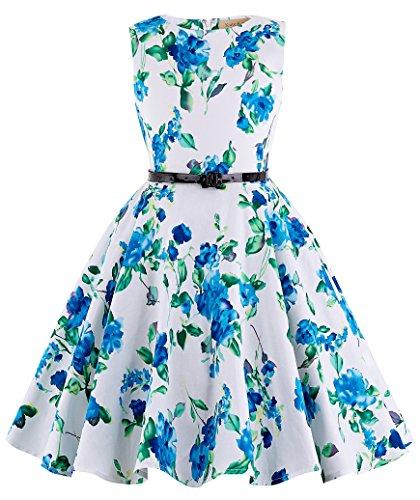 Kate Kasin flickor prinsessklänning vintage blommig A-linje barn barn födelsedag picknick fest bröllopsklänning