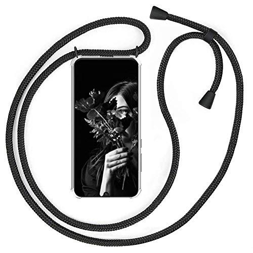 YuhooTech Handykette Handyhülle für ZTE Axon 10 Pro/Axon 10 Pro-5G Smartphone Necklace Hülle mit Handy Band - Schutzhülle mit Kordel Umhängenband - Schnur mit Hülle zum umhängen Cover in Mattschwarz