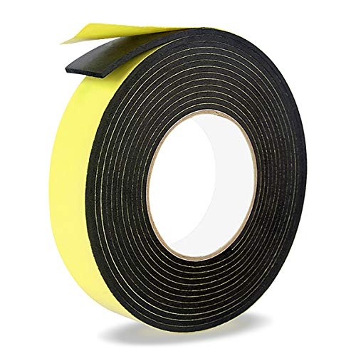 Foam Insulation Tape,Weather Stripping Door Seal Strip for Doors and Windows,Sliding Doors,Pipes,HVAC,Air Conditioning,Seal,Soundproofing,Craft Tape (1In x 1/8In x 33Ft, Black)