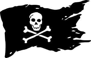 CCI Pirate Flag Decal Vinyl Sticker|Cars Trucks Vans Walls Laptop| Black|7.5 x 4.75 in|CCI1275