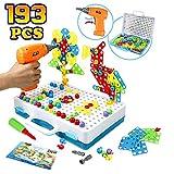 Symiu Juguetes Montessori - Juguete Construcción para Niños Puzzles 3D Mosaicos Infantiles con Divisible Taladro Eléctrico Juguetes Multiusos Herramienta Caja 3 4 5 Años