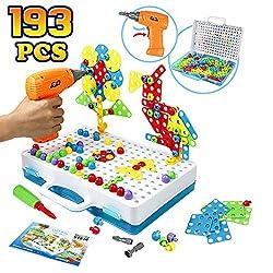 Mosaik Steckspiel Schraube Spielzeug - 3D Puzzle Pädagogisches Spielzeuge mit Elektronischem Bohrer Baustein Spielzeug Geschenkidee für Kinder Junge Mädchen ab 3 4 5 Jahre Alt