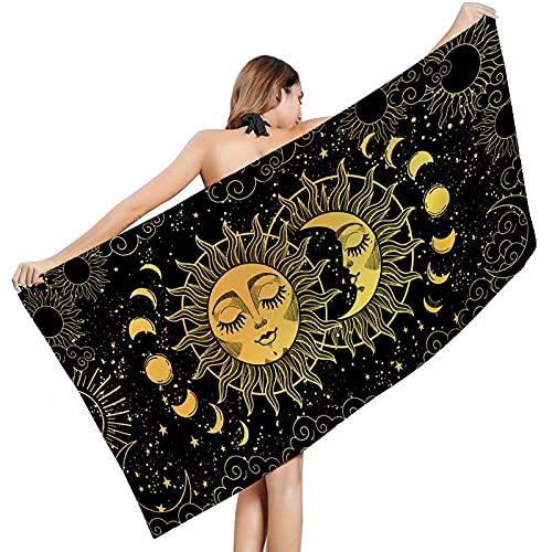 Toalla de playa de microfibra, diseño de luna, gran impresión creativa, toalla de baño antiarena/crema solar/chal