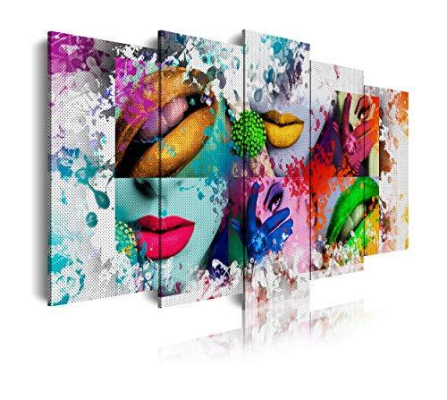 DekoArte - Cuadros Modernos Impresión de Imagen Artística Digitalizada | Lienzo Decorativo Para Tu Salón o Dormitorio | Estilo Pop Art Mujer Labios Color Blanco Verde Rojo Azul | 5 Piezas 150 x 80 cm
