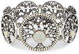 styleBREAKER Lebensbaum Gummizug Armband mit Perlen und Strass besetzten Amuletten, Boho Style, Damen 05040060, Farbe:Creme-Weiß