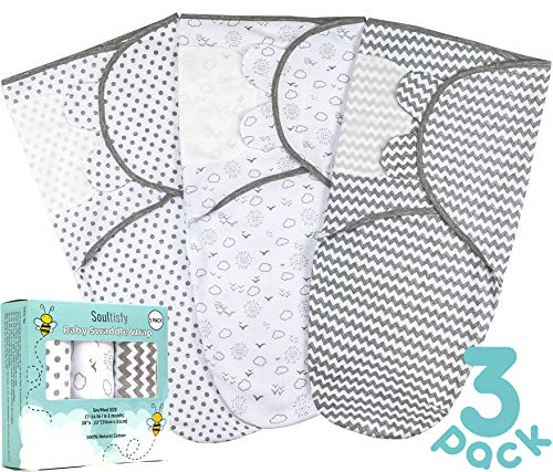 Soultisfy Baby Swaddle Blanket Wrap Pack of 3 for Newborn Boy and Girl 03 Months/Small/Medium – Breathable All Seasons Cotton – Unisex Design – Adjustable Infant Swaddle Sack Set