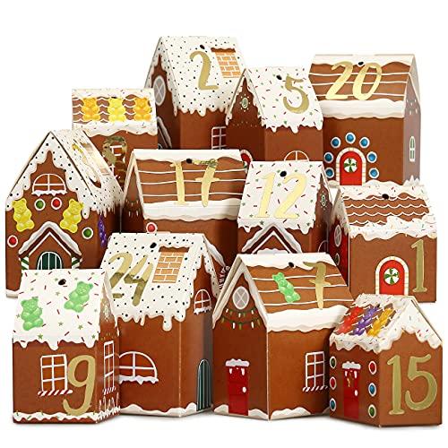Papierdrachen DIY Adventskalender zum Basteln und Befüllen - Häuser Set - Lebkuchen Häuser - 24 Bunte Falt-Schachteln zum Aufstellen und Dekorieren - 24 Boxen - Weihnachtsdorf - wiederverwendbar
