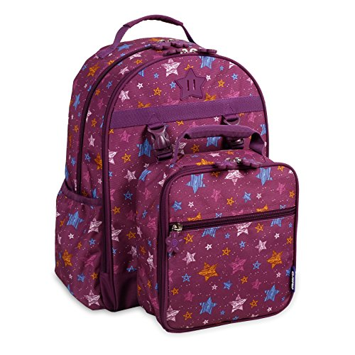 J World New York Kids' Duet Backpack with Detachable Lunch Bag, Stars, One Size