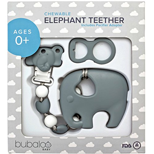 BABY TEETHING TOYS BPA FREE - Silicone Elephant Teether with Pacifier Clip...
