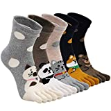 Womens Toe Sock Cotton Five Finger Running Ankle Novelty Socks (Animal panda, US shoe 6-9)
