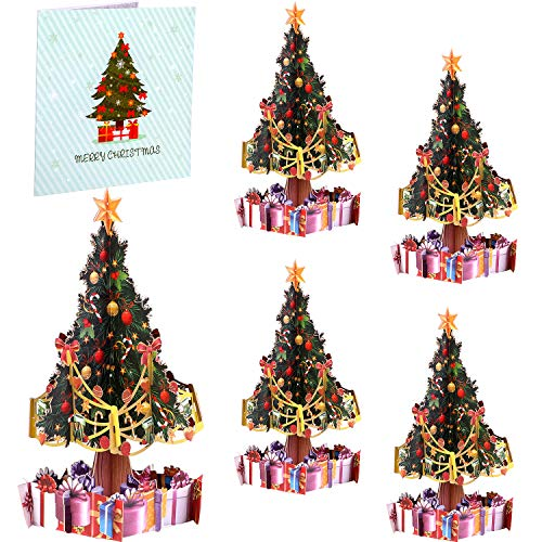 Christmas Greeting Cards 3D Pop Up Christmas Cards Xmas Tree Cards with Envelopes for Christmas Holiday Gifts (5 Pieces)