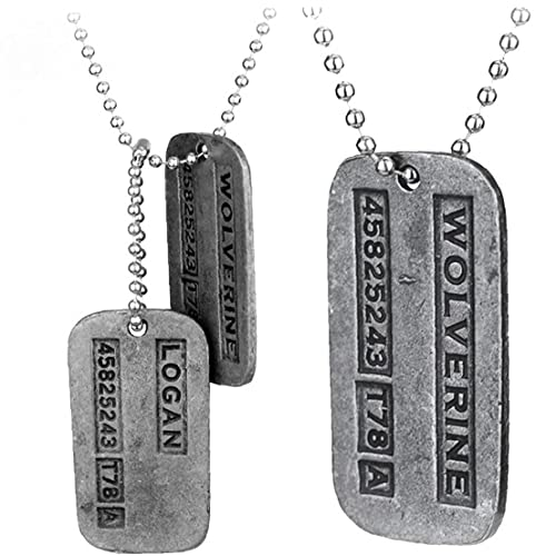 Froiny 2pcs X-Men Etiqueta Collar De Metal Colgante, Collar De Cadena del Perro