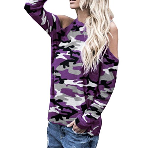 JUTOO Frauen Schulterfrei Camouflage Langarm Bluse Tops T-Shirt(Lila ,EU:38/CN:S)