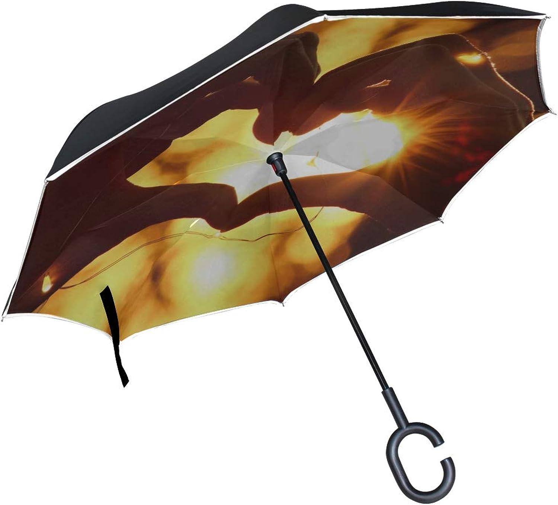 Rh Studio Ingreened Umbrella Heart Hands Garland Large Double Layer Outdoor Rain Sun Car Reversible Umbrella