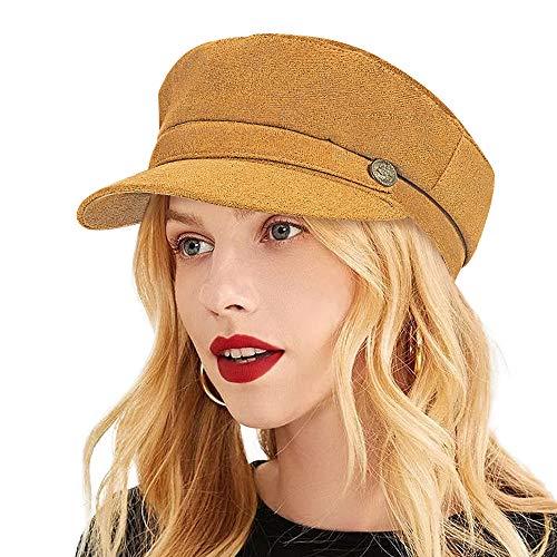 ColorSun Women's Newsboy Caps Newsboy Hats for Women Cabbie Fiddler Octagonal Paperboy Hat (Brown-K, Medium)