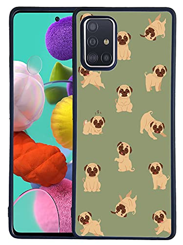 Bolster TPU Case for Samsung Galaxy A51 (5G) - Pug Baby Playing Vector Printed Designer Soft Rubber TPU Protective Shockproof Back Case/Cover for Galaxy A51 [Not for 4G]
